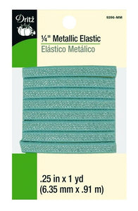 Metallic Elastic in Mint - 1/4""
