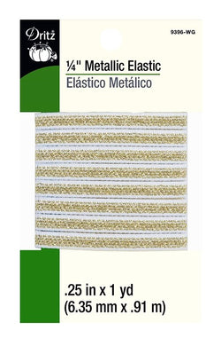 Metallic Elastic in White/Gold - 1/4
