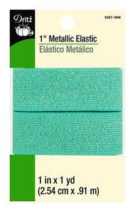 Metallic Waist Elastic in Mint - 1""