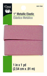 Metallic Waist Elastic in Pink- 1""
