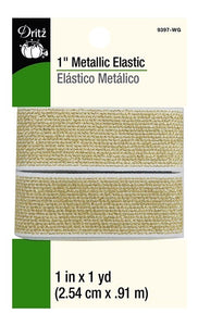 Metallic Waist Elastic in White/Gold- 1""