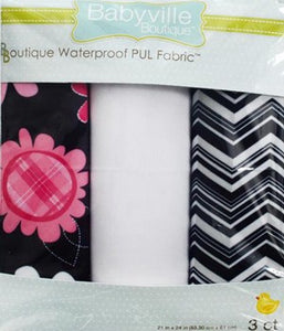 PUL Fabric Package: Pink Floral on Black, Chevron & White Solid