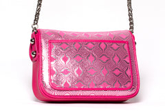 Pink Suede with Silver Foil, Pink Calfskin Leather