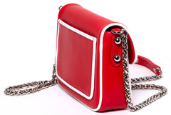 Red and White Calfskin Leather