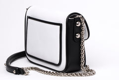 White and Black Calfskin Leather