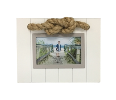 Nautical Photo Frames - Beach White and Tan Frame with Rope Accent