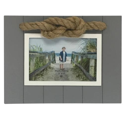 Grey and White Nautical Photo Frame with Rope Accent Chesapeake Bay Goods
