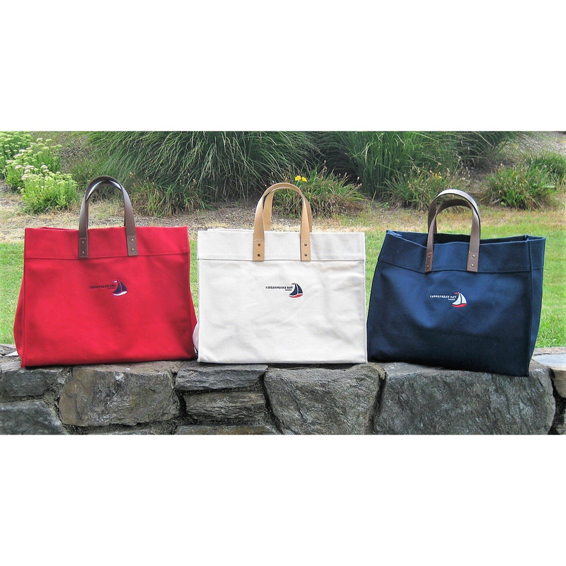 Red Natural Navy Structured Canvas Tote with Leather Handles  - Chesapeake Bay Goods