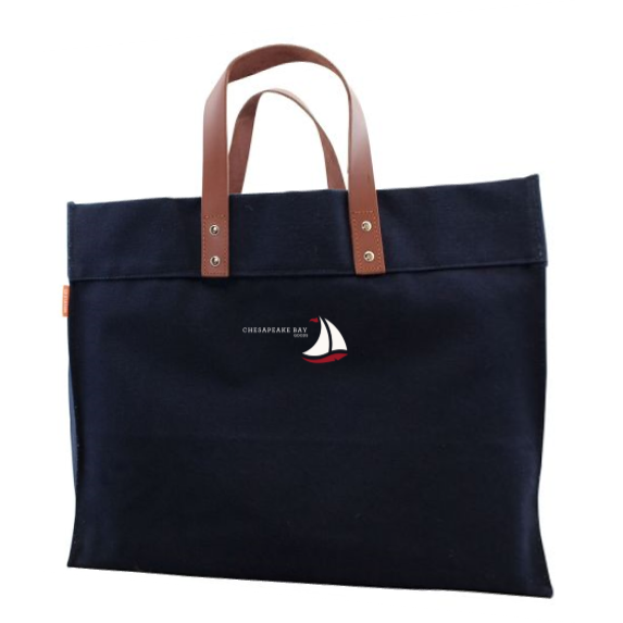 Navy Structured Canvas Tote with Leather Handles - Chesapeake Bay Goods