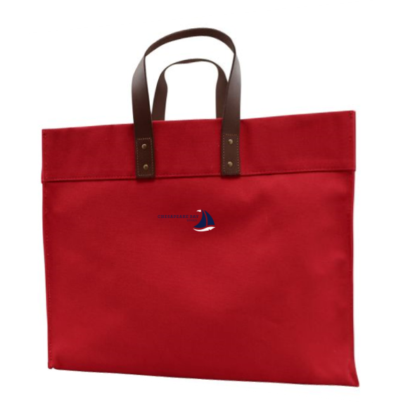 Red Structured Canvas Tote with Leather Handles - Chesapeake Bay Goods