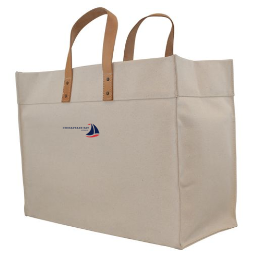 Natural Canvas Structured Tote with Leather Handles - Chesapeake Bay Goods