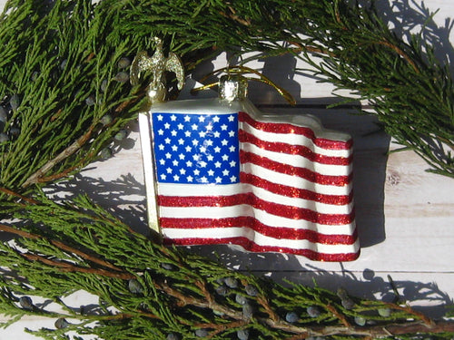 American Flag Glass Patriotic Christmas Ornament
