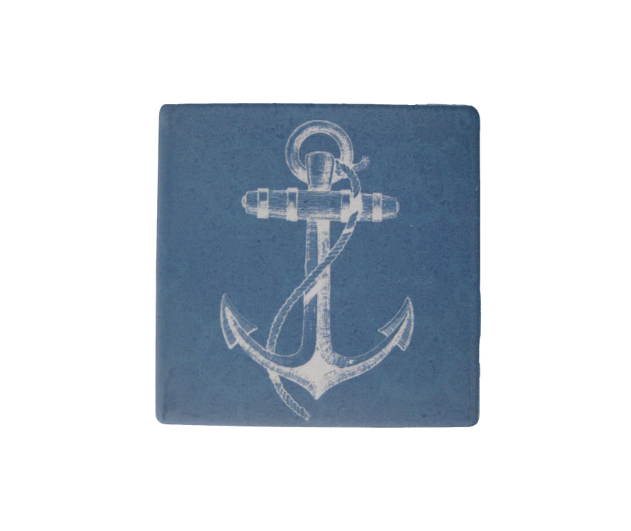 Blue Ceramic Anchor Coaster with Cork Back Chesapeake Bay Goods