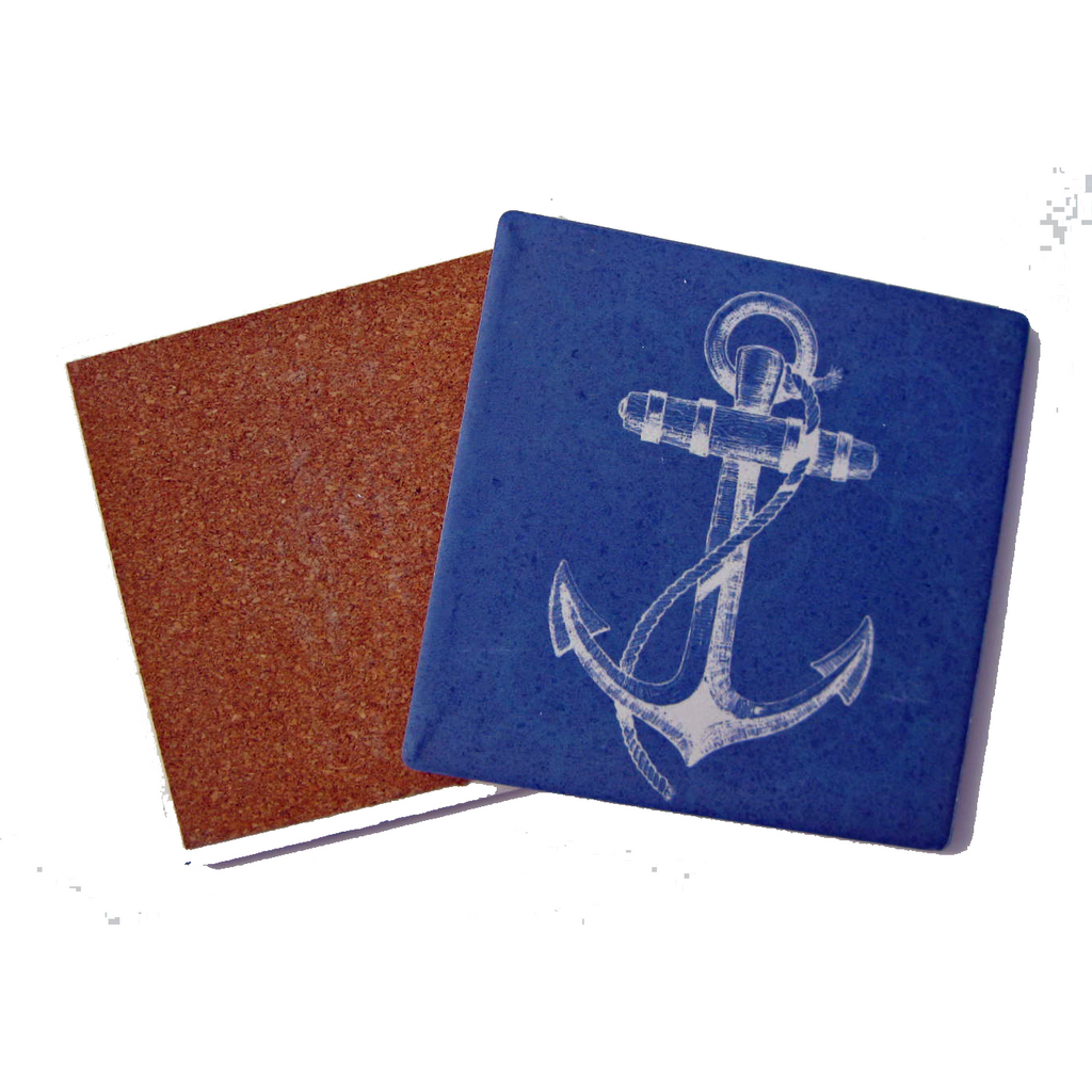 Nautical Anchor Coaster Ceramic Singles - Chesapeake Bay Goods