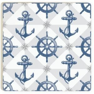 Anchors and Ship Wheel Ceramic Coaster - Chesapeake Bay Goods