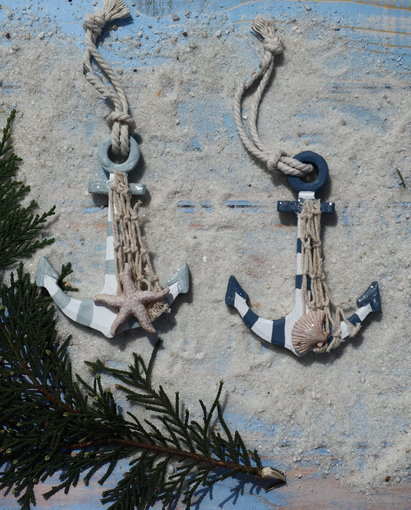 Wooden Striped Nautical Anchor Christmas Ornaments - Set of 2