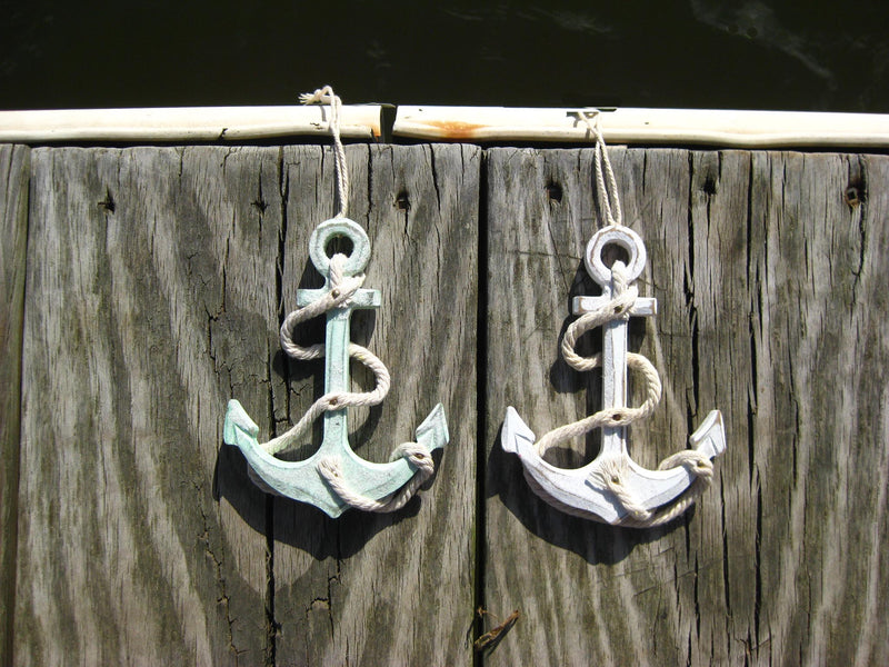 Nautical Anchor Christmas Ornaments - Set of 2