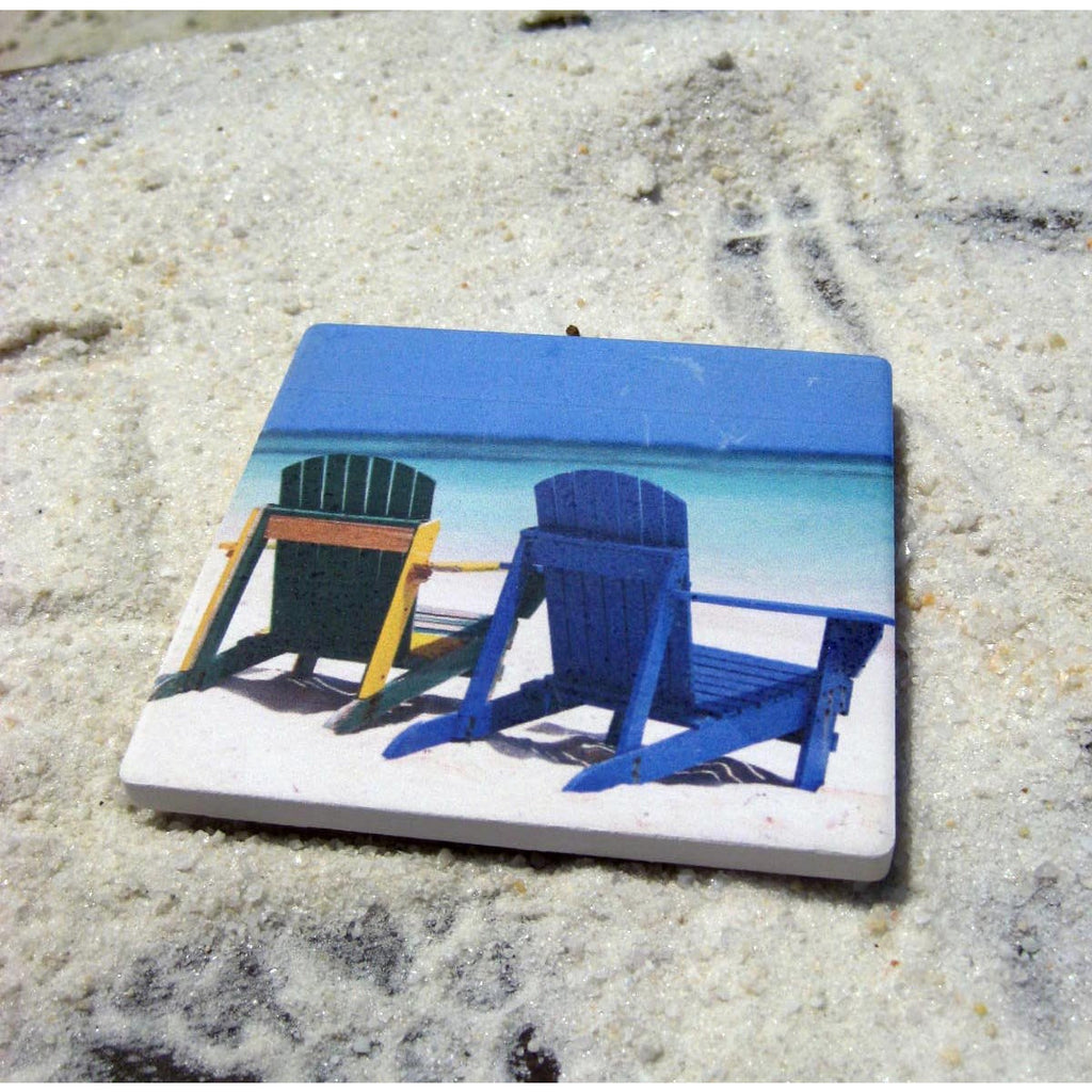 Beach Chairs Ceramic Coaster Singles - Chesapeake Bay Goods