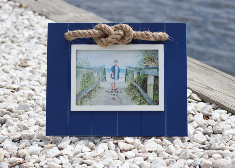 Nautical Photo Frame - Blue & White Frame with Rope Accent