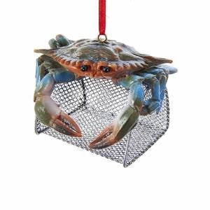 Blue Crab with Wire Cage Ornament