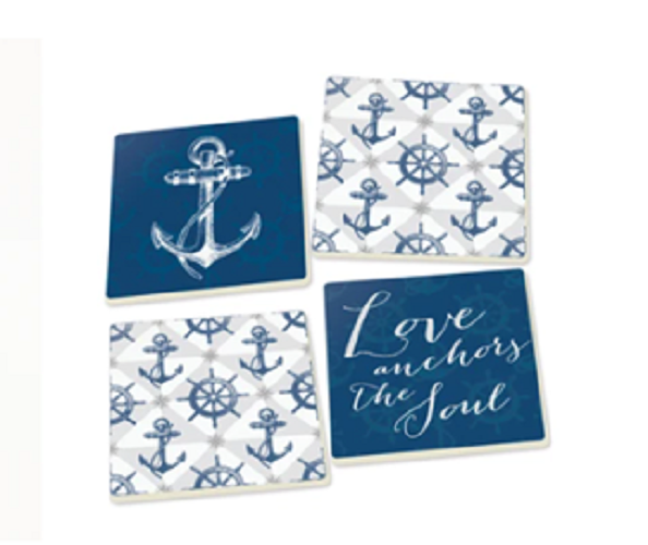Ceramic Ship Wheel and Anchor Coaster 4 Pack Chesapeake Bay Goods