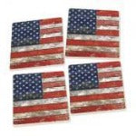 American Flag Patriotic Ceramic Coaster 4 Pack  - Chespeake Bay Goods