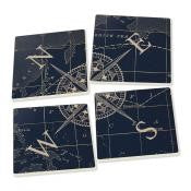 Nautical Compass Rose Ceramic Coaster 4 Pack - Chesapeake Bay Goods