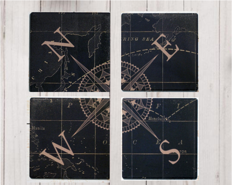 Compass Ceramic Coaster 4 Pack