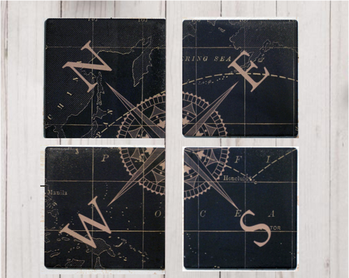 Nautical Compass Ceramic Coaster 4 Pack