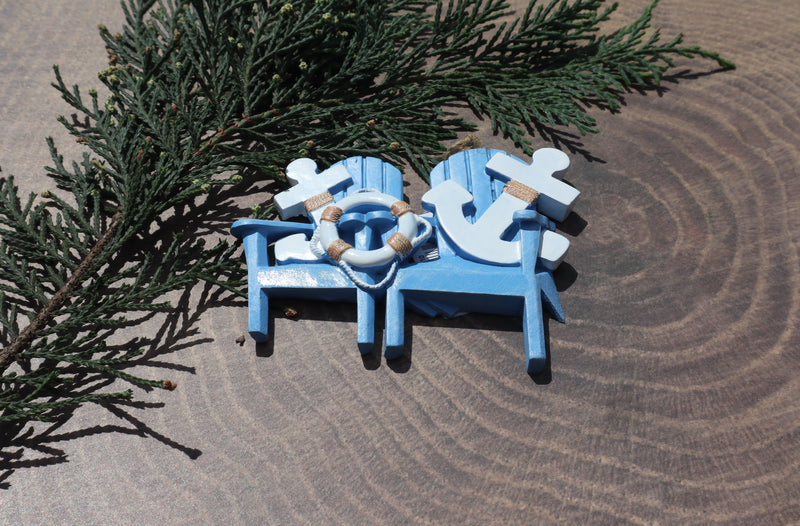 Couples Beach Adirondack Chair Christmas Ornament