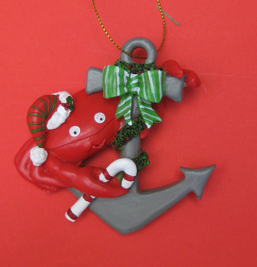 Red crab on anchor nautical Christmas Ornament Chesapeake Bay Goods