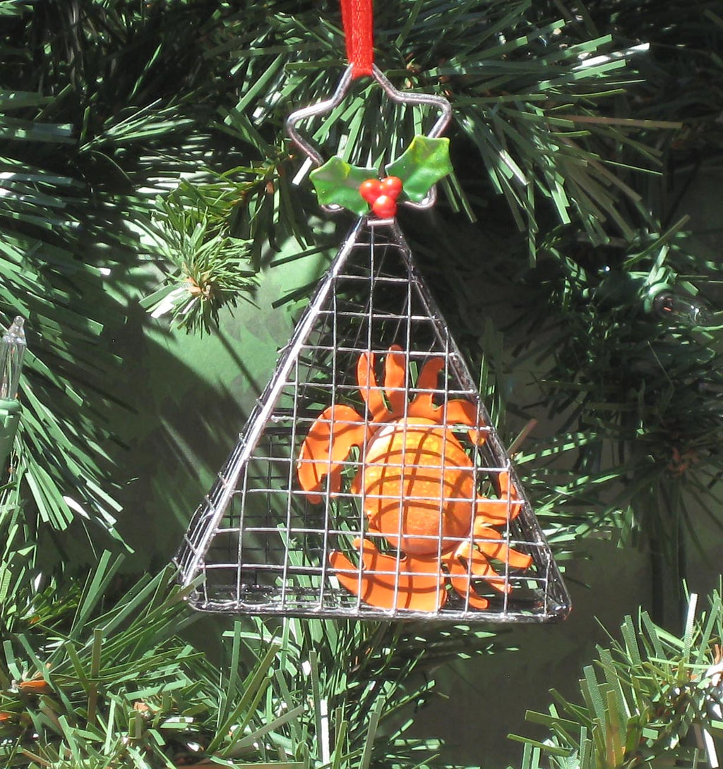 Wire Cage with Crab Ornament