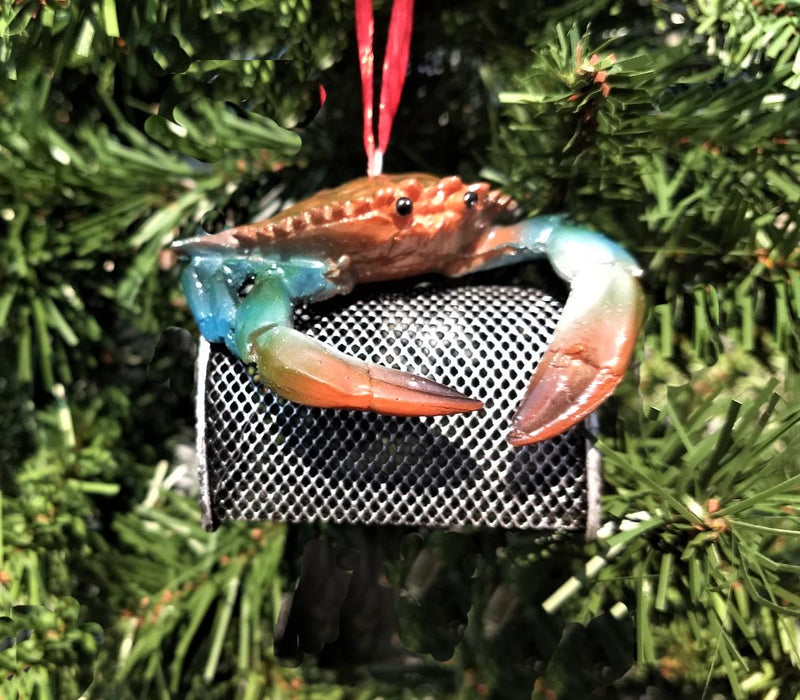 Blue Crab on Wire Cage Christmas Ornament Chesapeake Bay Goods