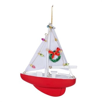 Red Sailboat Christmas Ornament