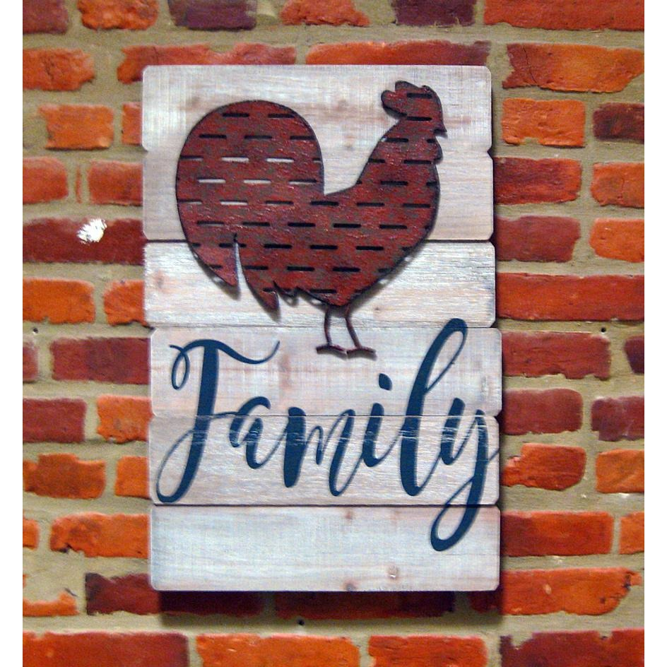 Wood Wall Decor Rooster-Family - Chesapeake Bay Goods