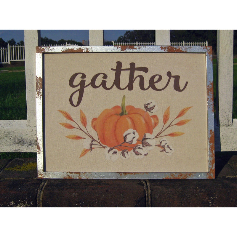 Gather / Give Thanks Wall Decor with Metal Frame - Chesapeake Bay Goods
