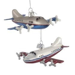 Glass Airplane Ornament