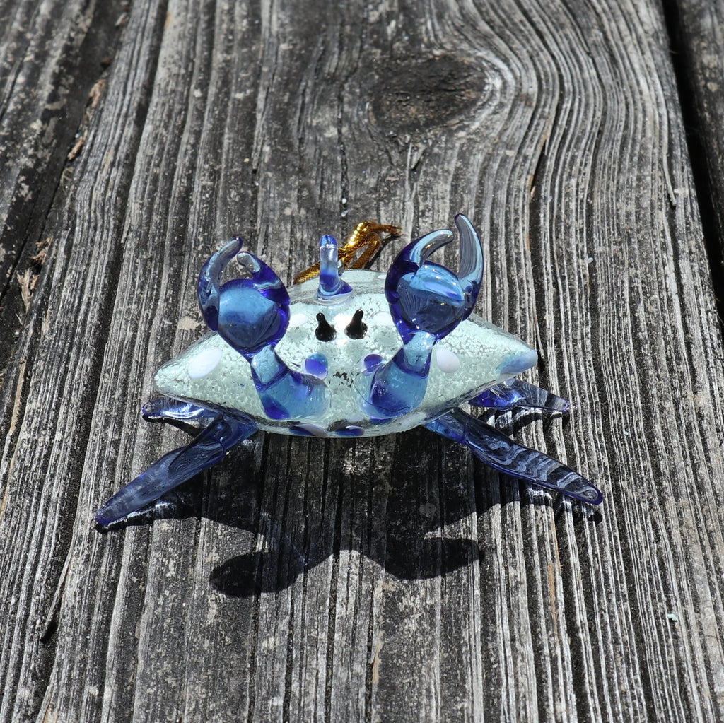 Glow in the Dark Glass Blue Crab Ornament Chesapeake Bay Goods