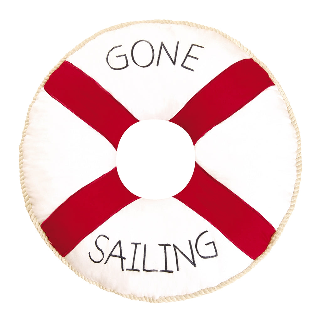 Life Preserver Gone Sailing Pillow White Chesapeake Bay Goods