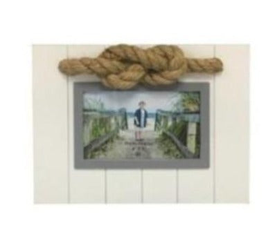 Beach White an Gray Photo Frame with Rope Accent - Chesapeake Bay Goods