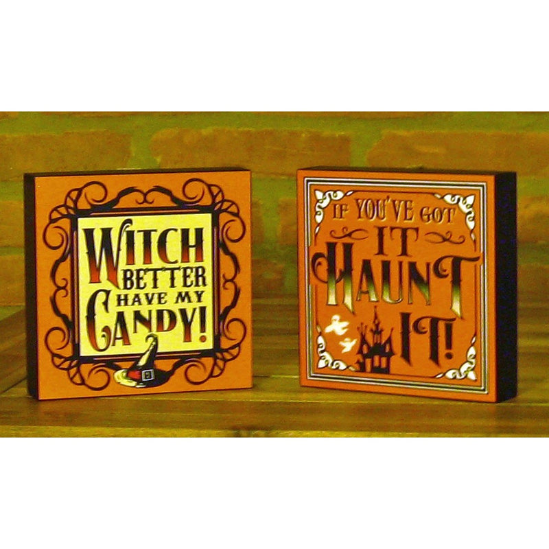 Halloween Wood Block Wall Signs - Chesapeake Bay Goods