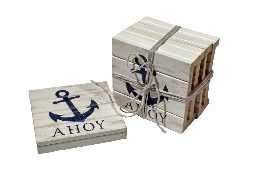 Nautical Anchor Wood Pallet Coaster 4-Pack Chesapeake Bay Goods
