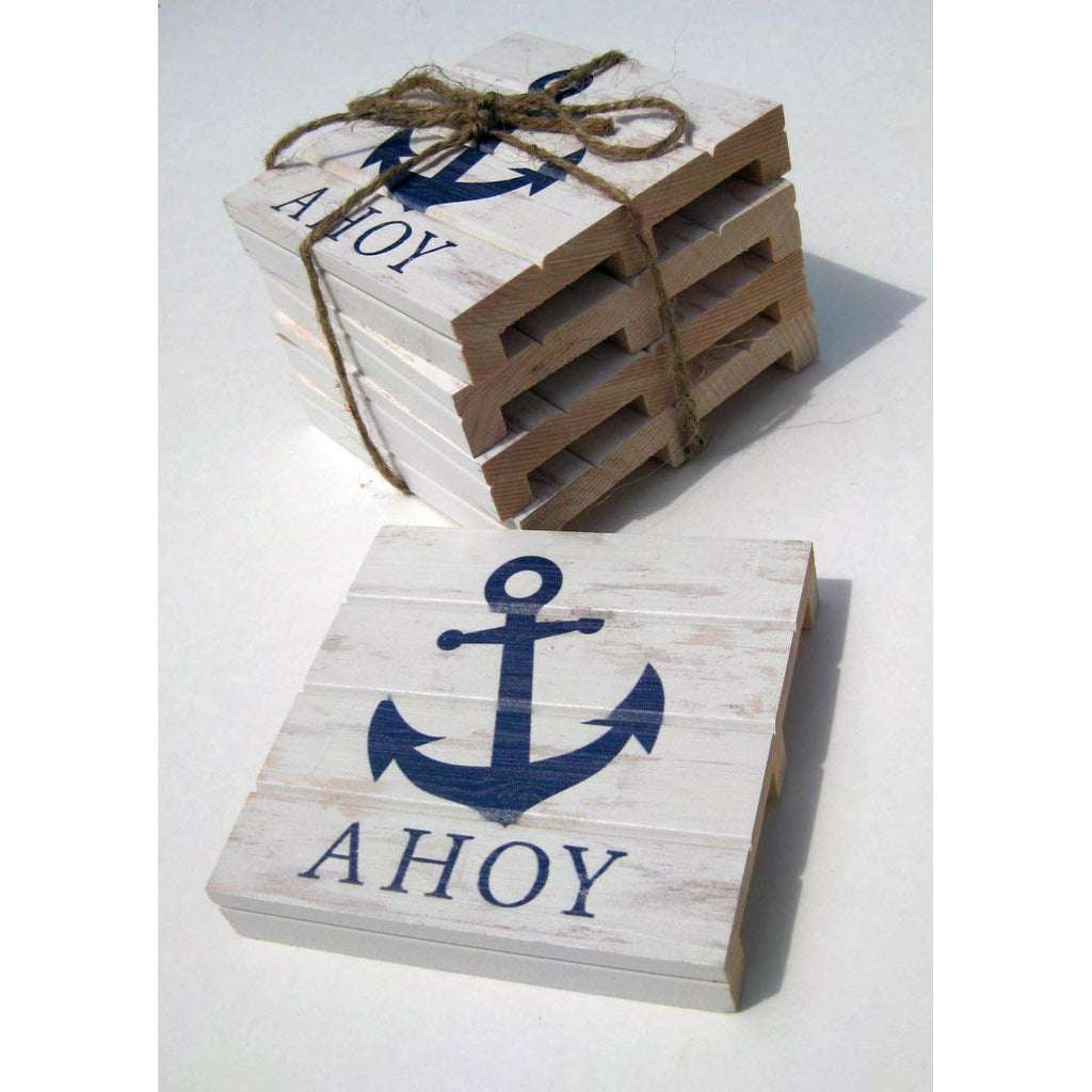 Nautical Anchor Wood Pallet Coaster 4-Pack - Chesapeake Bay Goods