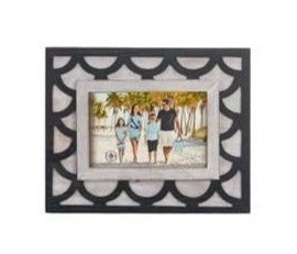 Navy and White Pattern with Wood Photo Frame