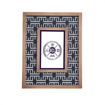 Navy White Pattern with Wood Photo Frame - Chesapeake Bay Goods