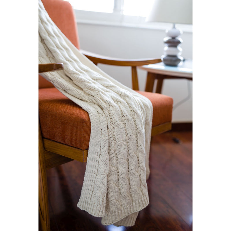 Ivory Cable Knit Throw - Chesapeake Bay Goods
