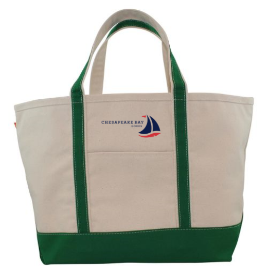 Large Green Canvas Boat Tote - Chesapeake Bay Goods