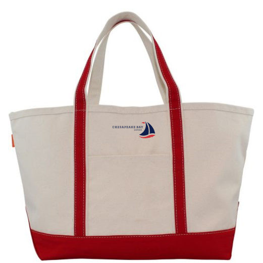 Large Red Canvas Boat Tote - Chesapeake Bay Goods