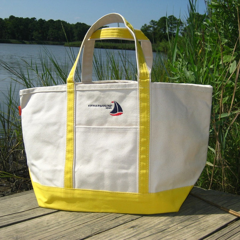 Large Yellow Canvas Boat Tote Chesapeake Bay Goods