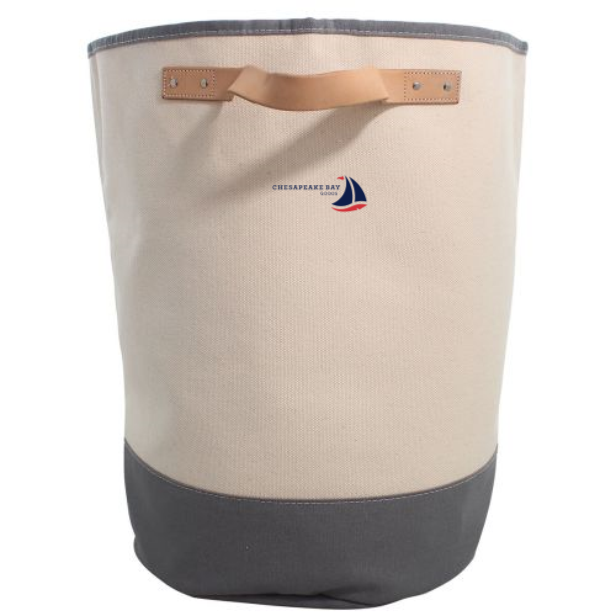 Gray Canvas Laundry Hamper